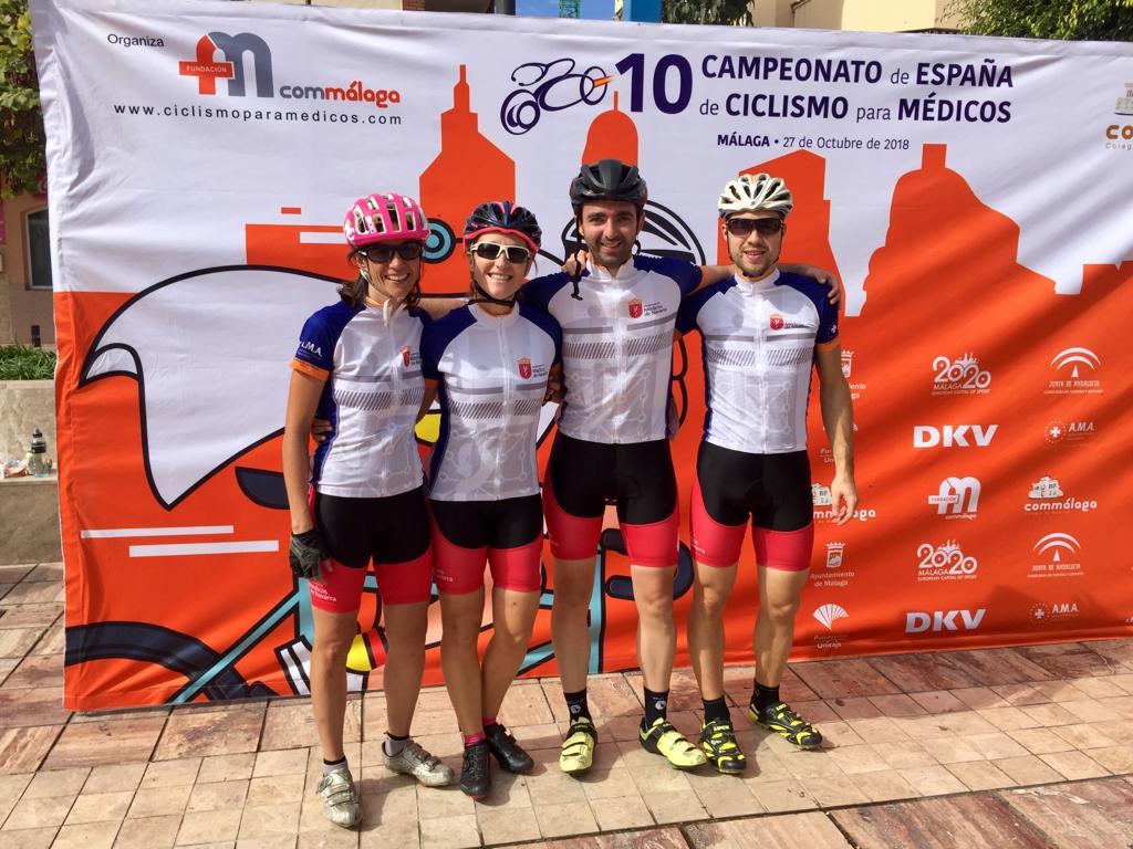 Las navarras Izarbe Jiménez y Uxua Idiazabal, primer y segundo premio de la categoría femenina en el X Campeonato de España de Ciclismo para Médicos. Diego Latasa, segundo en la clasificación general.