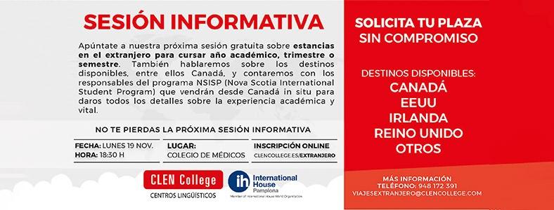 Clen College organiza una sesión informativa sobre estancias en el extranjero.  Lunes, 19 de Noviembre, a las 18:30 horas, en el Colegio de Médicos de Navarra.