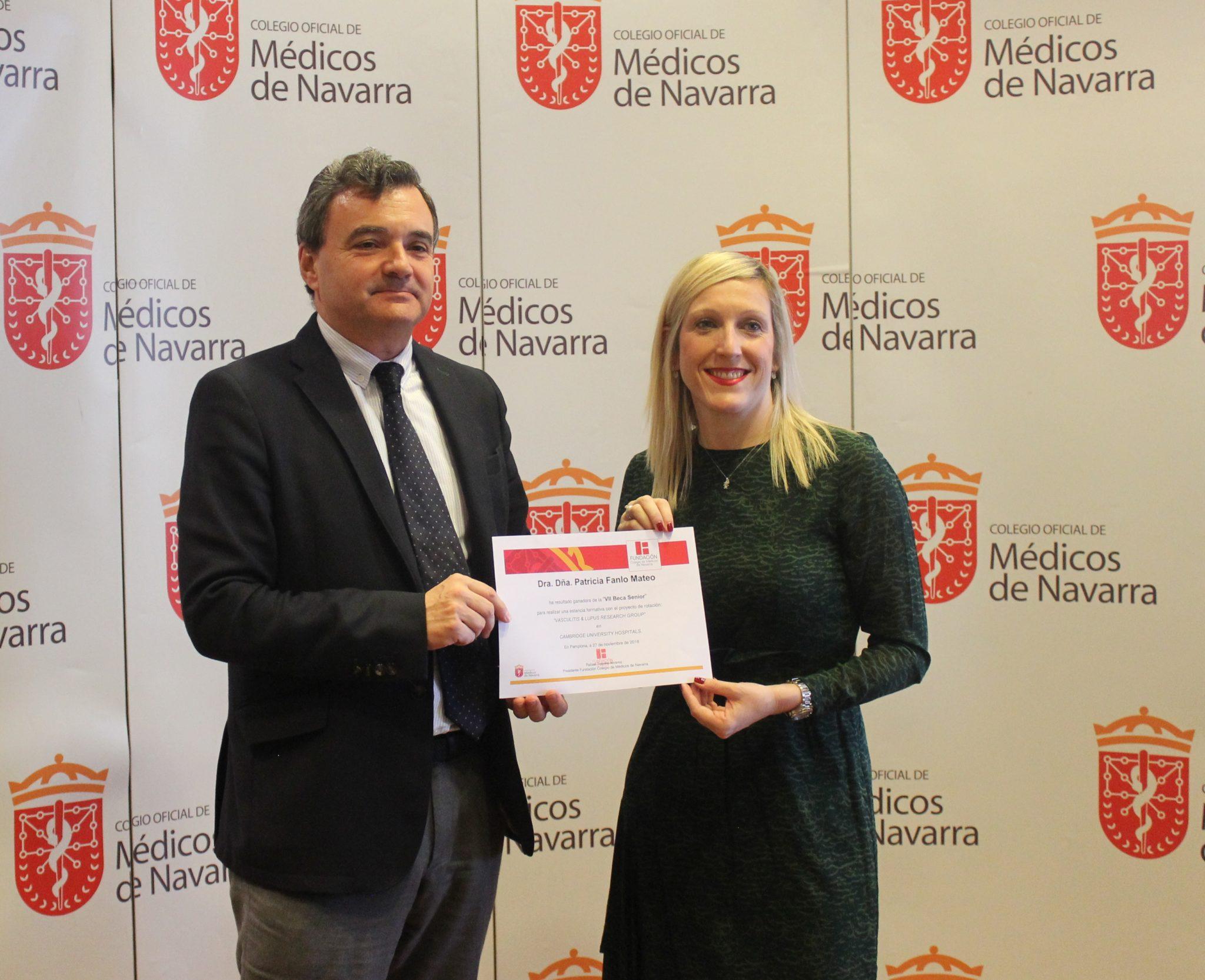 La Dra. Patricia Fanlo Mateo, ganadora de la VII Beca Senior del Colegio de Médicos de Navarra.