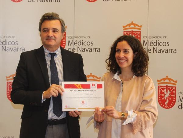 La pediatra Maite Ruiz Goikoetxea ganadora de la Beca Senior 2019 de la Fundación Colegio de Médicos de Navarra.