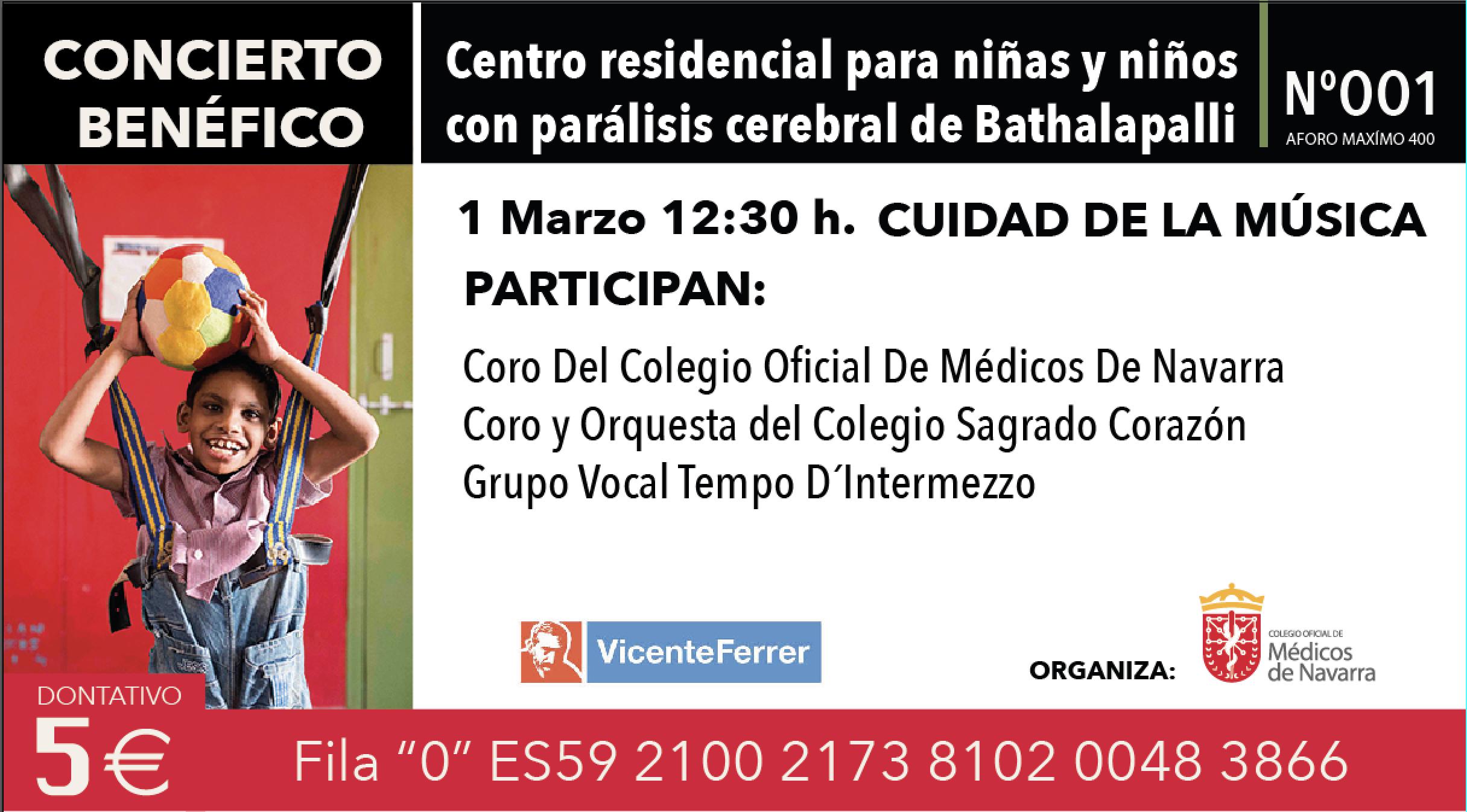 Concierto Benéfico en favor de la Fundación Vicente Ferrer, el domingo 1 de marzo. Últimas entradas a la venta en el Colegio.
