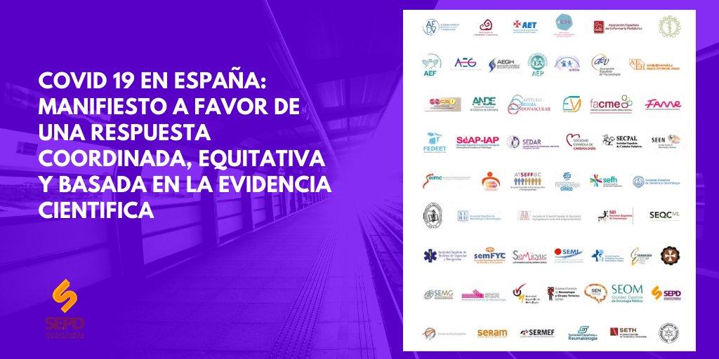 Covid-19 en España: Manifiesto a favor de una respuesta coordinada, equitativa y basada en la evidencia científica de más de 50 sociedades científicas.